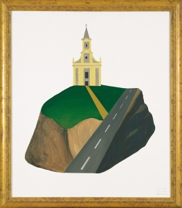 Church on Green Hill, 199270x60 cm, acrylic on canvas© Regős István