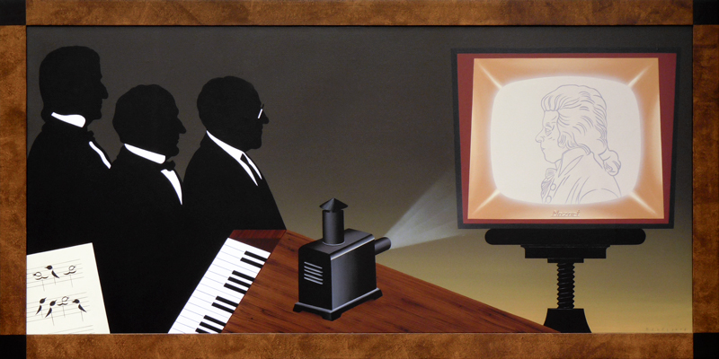 Music Salon, 201180x160 cm, acrylic on canvas© Regős István