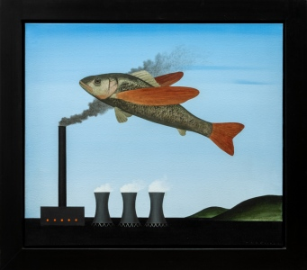 Flying Fish With Factory, 199350x70 cm, acrylic on canvas© Regős István