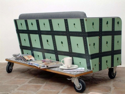 Trabant Sofa, 199577x127x77 cm, painted wood, parts of Trabant car© Regős István
