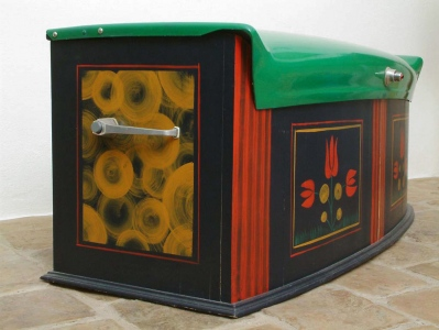 Chest With Tulip Pattern, 199553x122x53 cm, painted wood, parts of Trabant car© Regős István